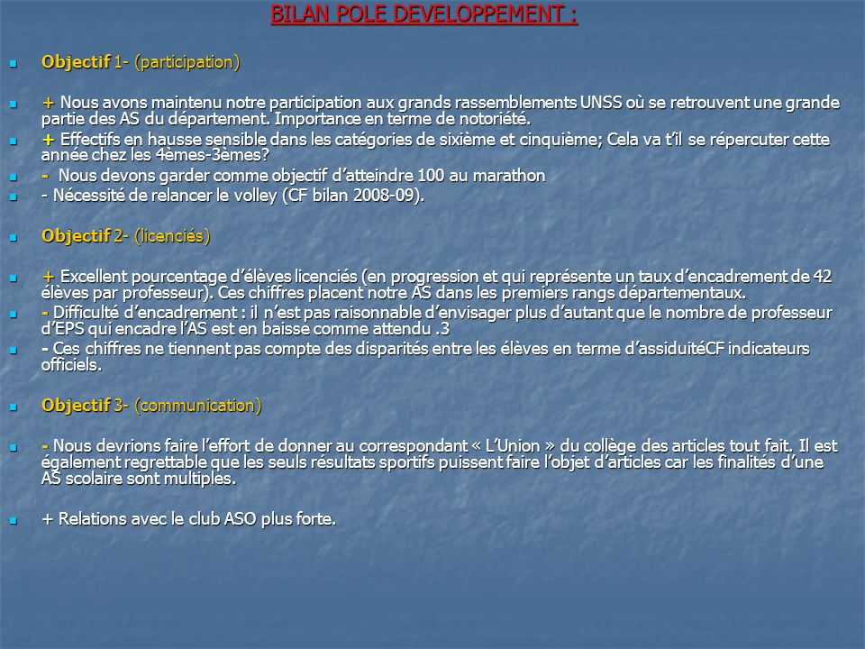 BILAN POLE DEVELOPPEMENT :