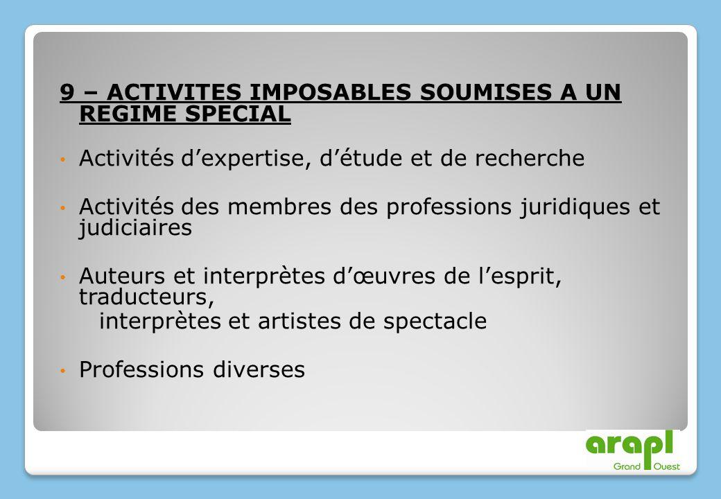 9 – ACTIVITES IMPOSABLES SOUMISES A UN REGIME SPECIAL