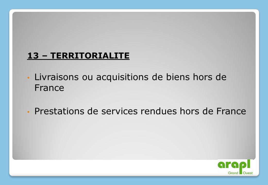 Livraisons ou acquisitions de biens hors de France