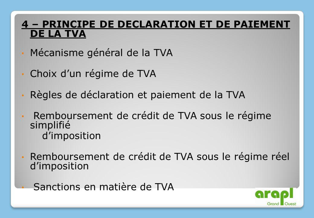 4 – PRINCIPE DE DECLARATION ET DE PAIEMENT DE LA TVA