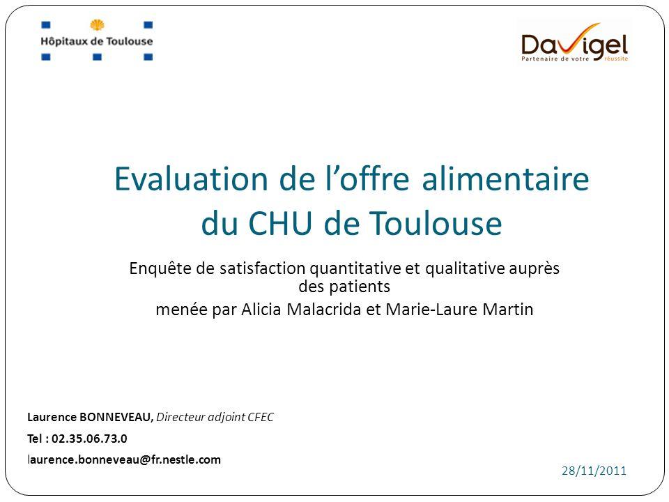 Evaluation de l'offre alimentaire du CHU de Toulouse