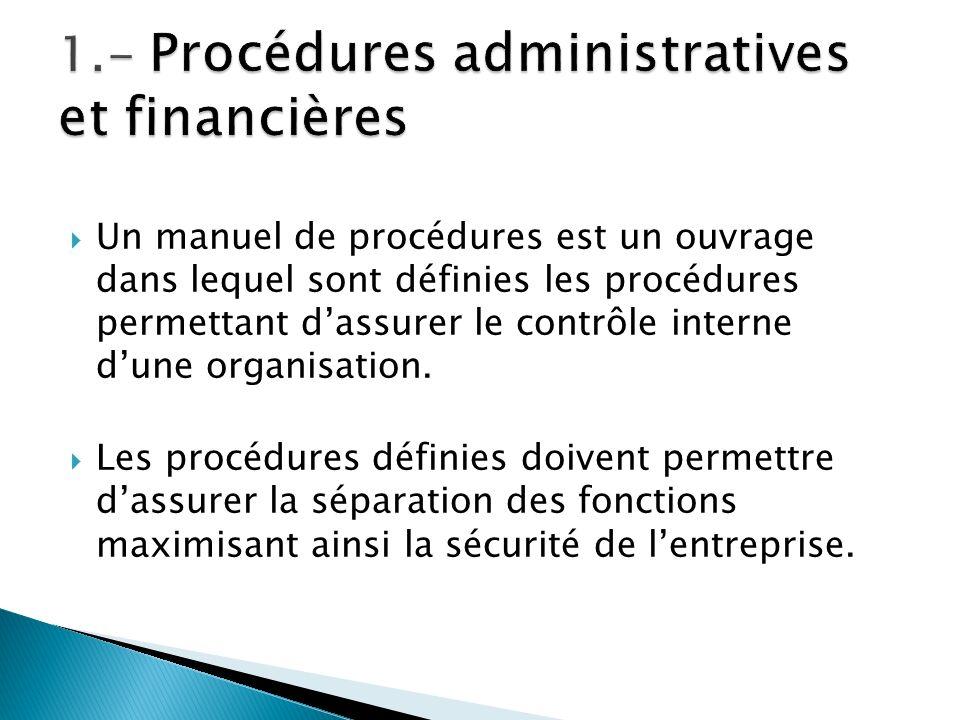 1.- Procédures administratives et financières