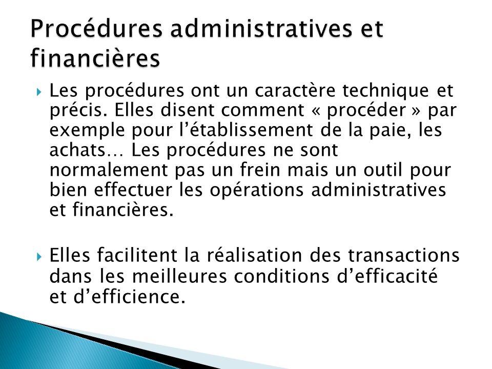 Procédures administratives et financières