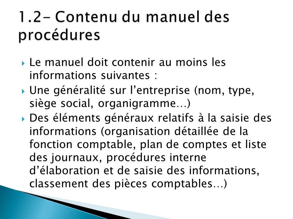 1.2- Contenu du manuel des procédures