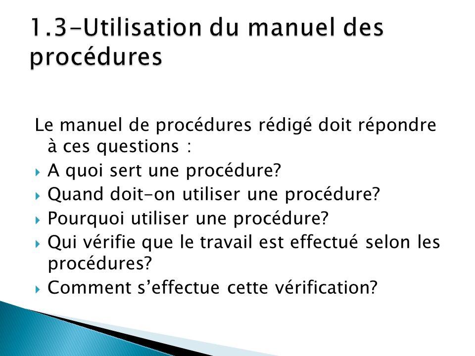 1.3-Utilisation du manuel des procédures