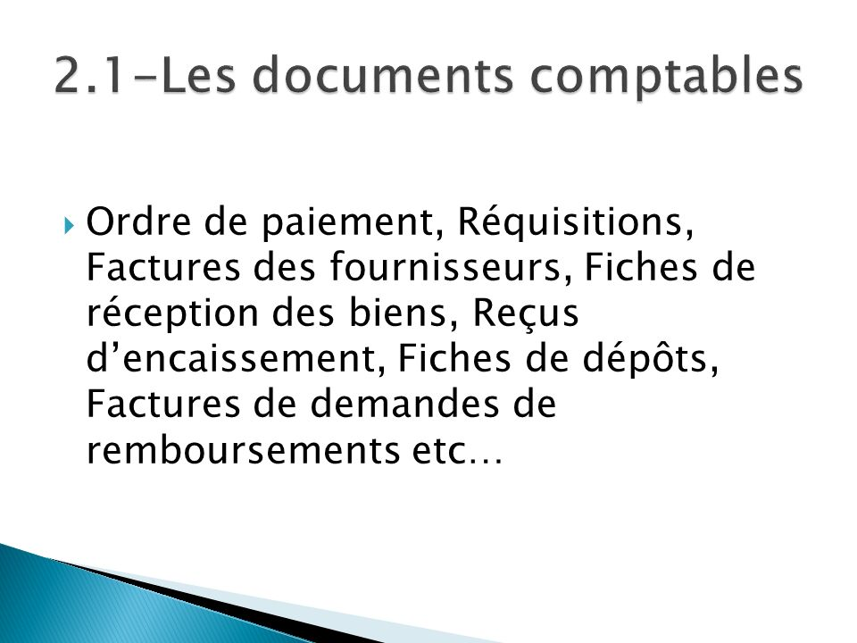 2.1-Les documents comptables