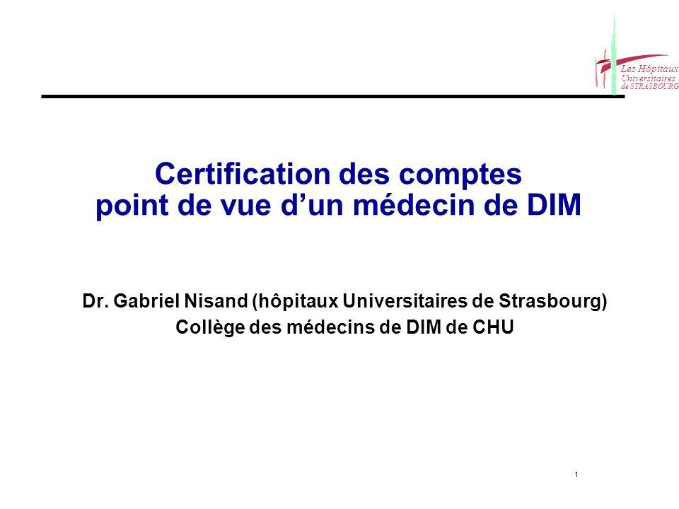 Certification des comptes point de vue d'un médecin de DIM