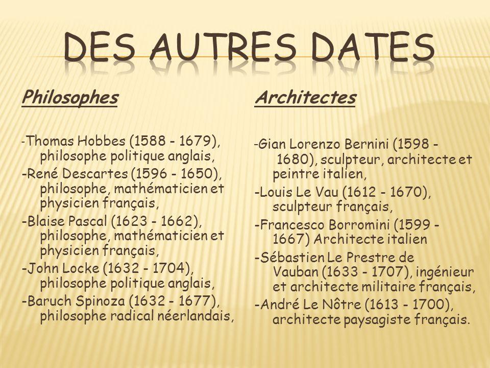 Des autres dates Philosophes Architectes