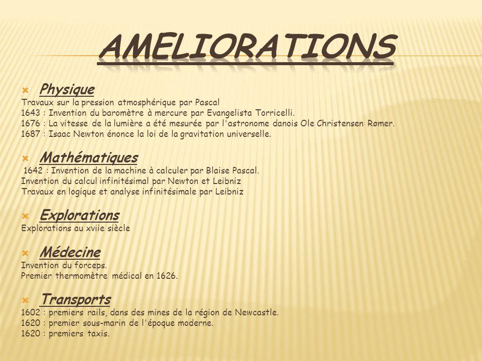 ameliorations Physique Mathématiques Explorations Médecine Transports