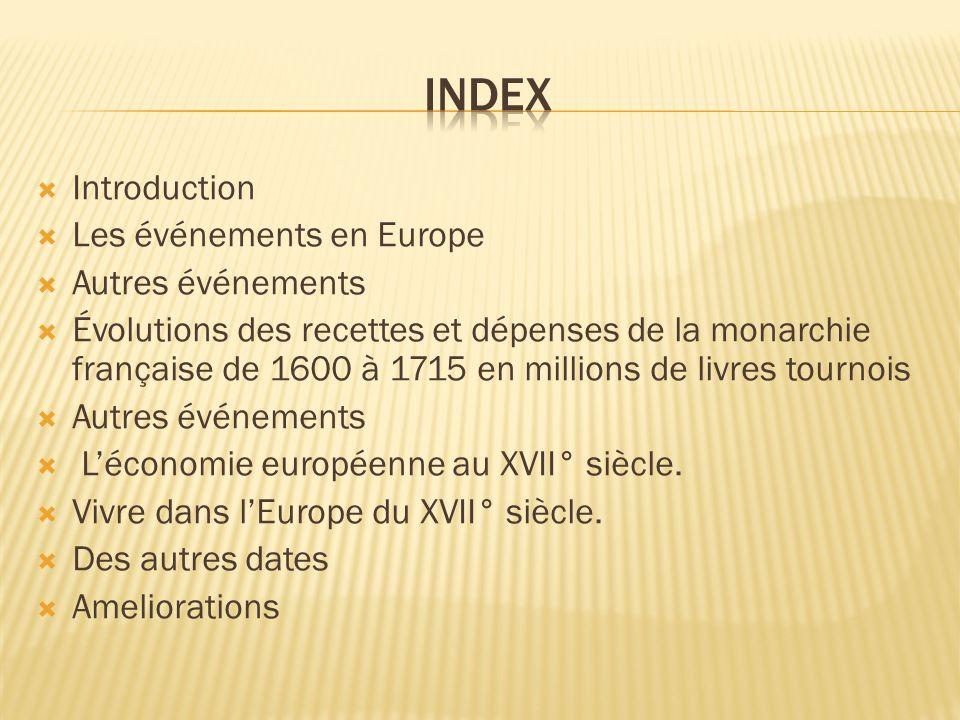 index Introduction Les événements en Europe Autres événements