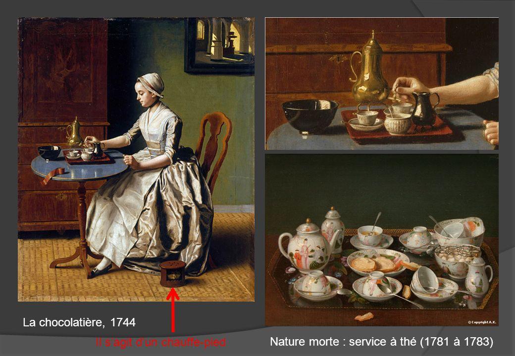 La chocolatière, 1744 Il s'agit d'un chauffe-pied Nature morte : service à thé (1781 à 1783)
