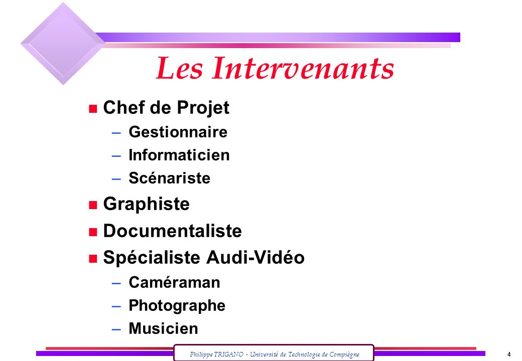 Les Intervenants Chef de Projet Graphiste Documentaliste