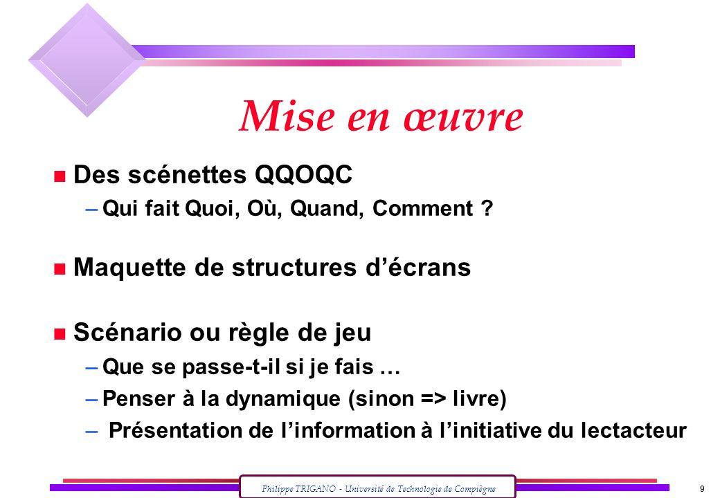 Mise en œuvre Des scénettes QQOQC Maquette de structures d'écrans