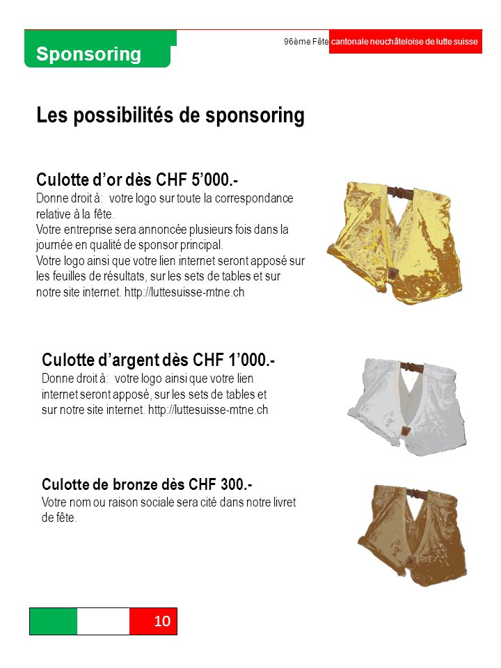 Les possibilités de sponsoring