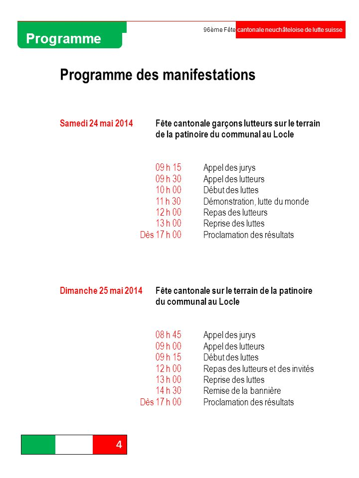 Programme des manifestations