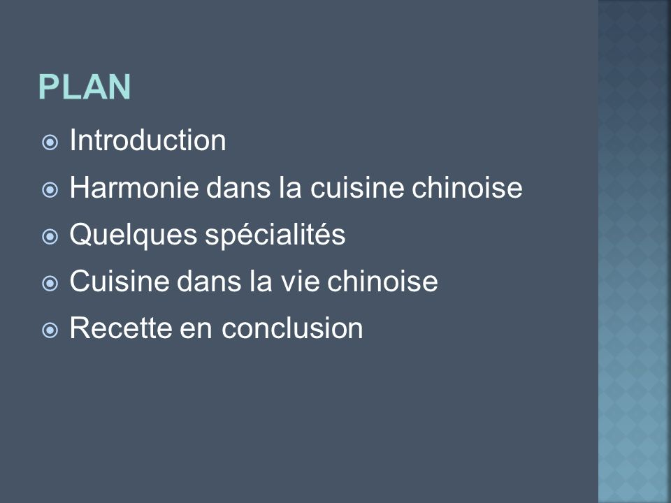 plan Introduction Harmonie dans la cuisine chinoise