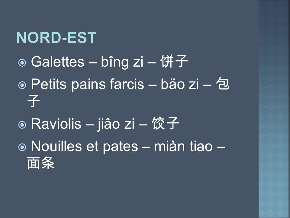 Nord-Est Galettes – bîng zi – 饼子 Petits pains farcis – bäo zi – 包 子