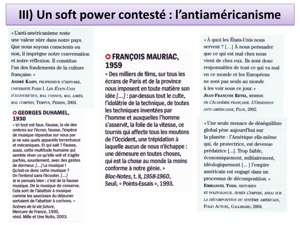 III) Un soft power contesté : l'antiaméricanisme