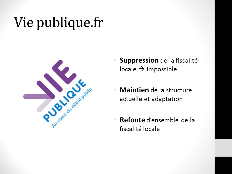 Vie publique.fr Suppression de la fiscalité locale  Impossible
