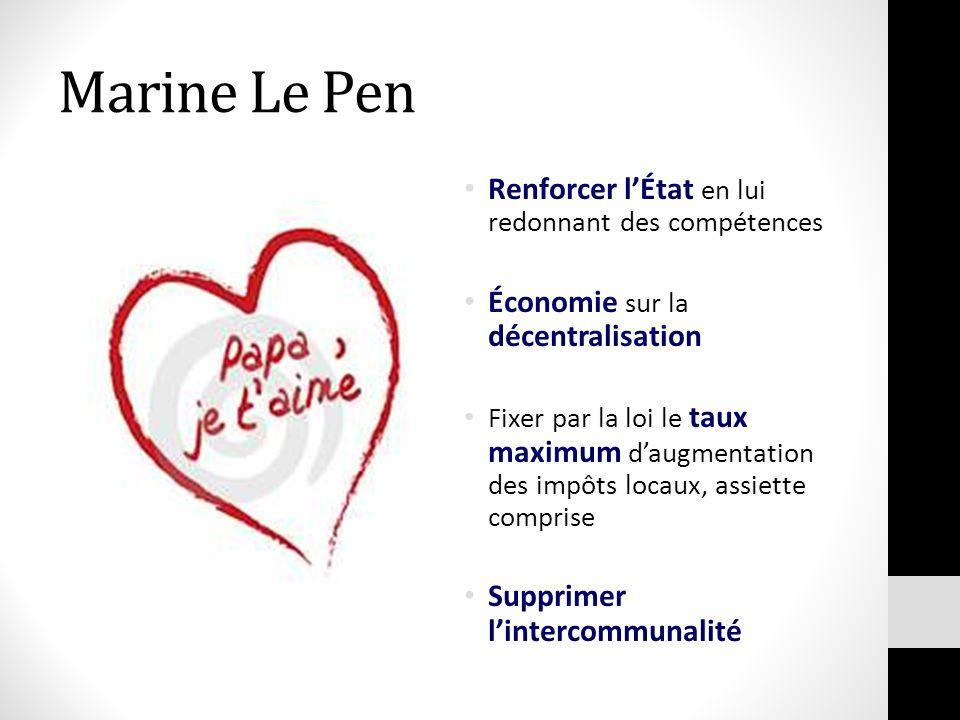 Marine Le Pen Renforcer l'État en lui redonnant des compétences