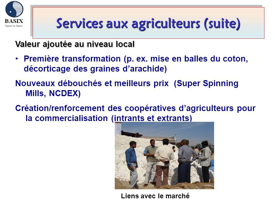 Services aux agriculteurs (suite)