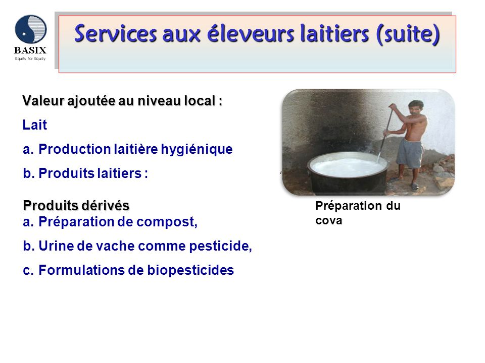 Services aux éleveurs laitiers (suite)