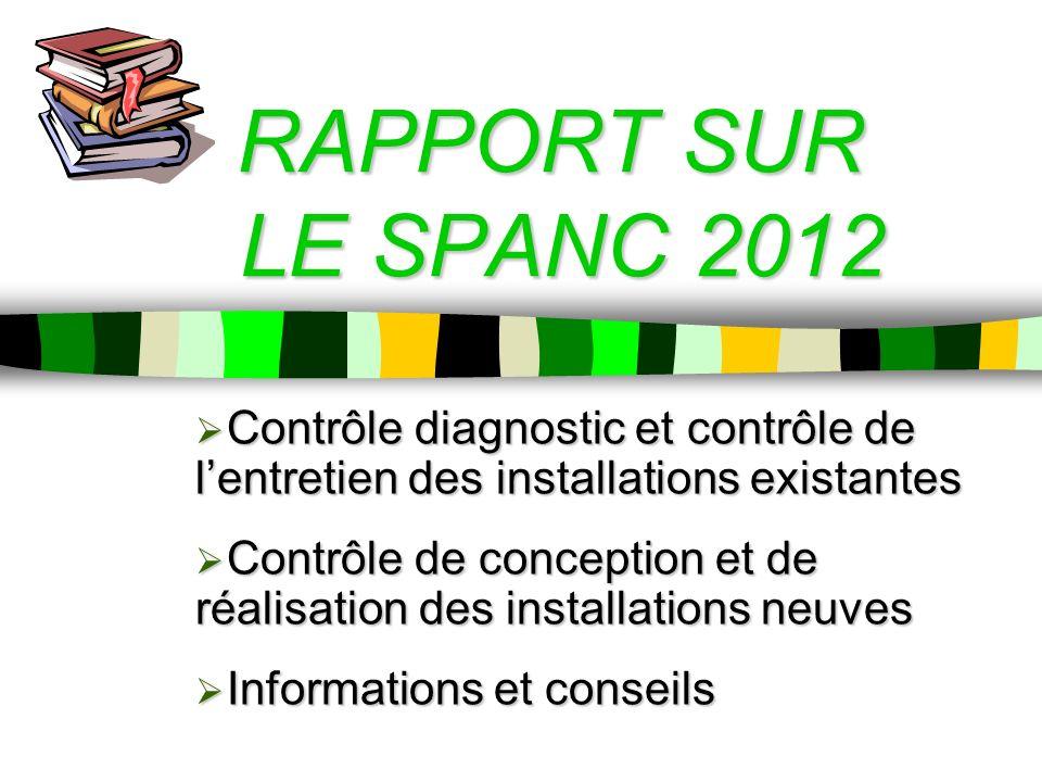 RAPPORT SUR LE SPANC 2012 Contrôle diagnostic et contrôle de l'entretien des installations existantes.