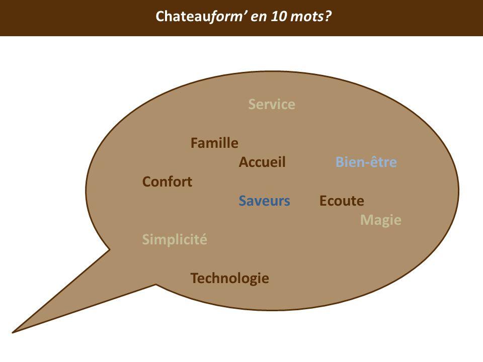 Chateauform' en 10 mots Service. Famille. Accueil Bien-être. Confort. Saveurs Ecoute.