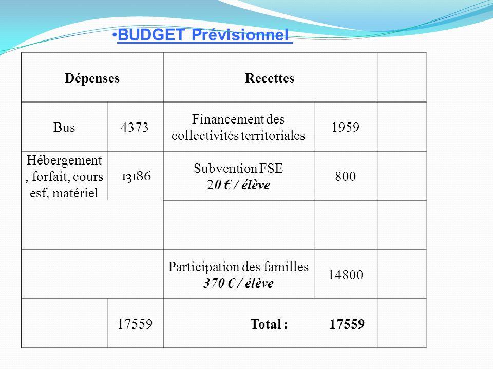 BUDGET Prévisionnel Dépenses Recettes Bus 4373