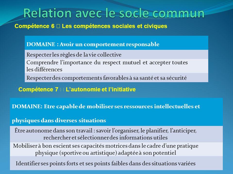 Relation avec le socle commun