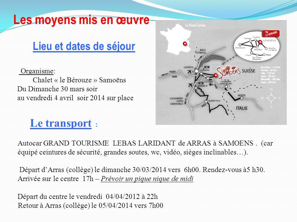 Le transport : Lieu et dates de séjour Organisme: