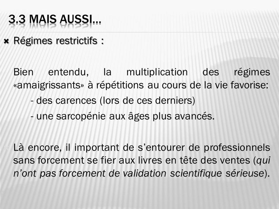 3.3 mais aussi… Régimes restrictifs :