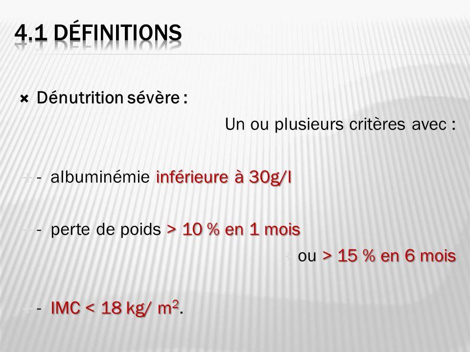 4.1 DéfinitioNS Dénutrition sévère : Un ou plusieurs critères avec :