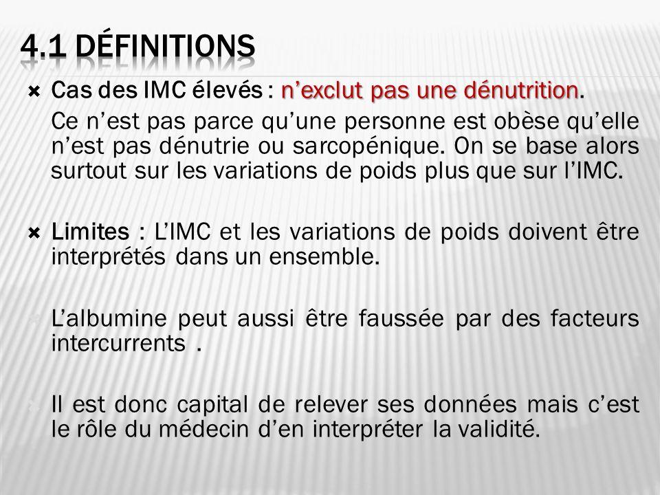 4.1 DéfinitioNS Cas des IMC élevés : n'exclut pas une dénutrition.