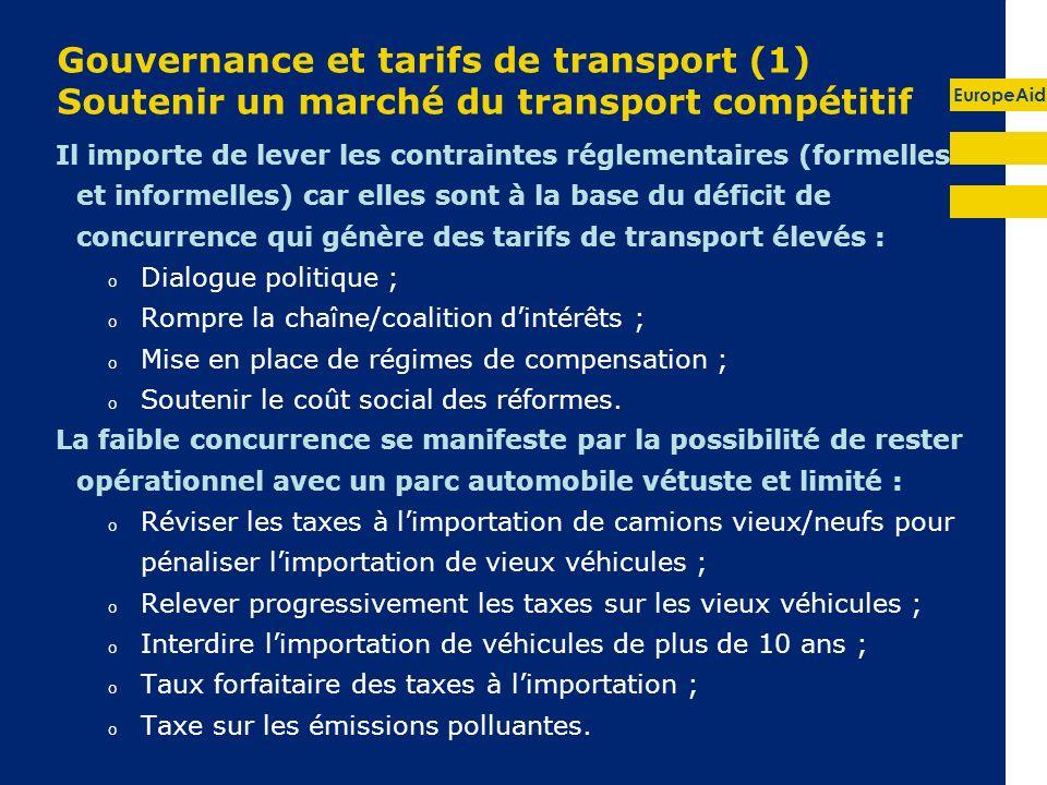 Gouvernance et tarifs de transport (1) Soutenir un marché du transport compétitif