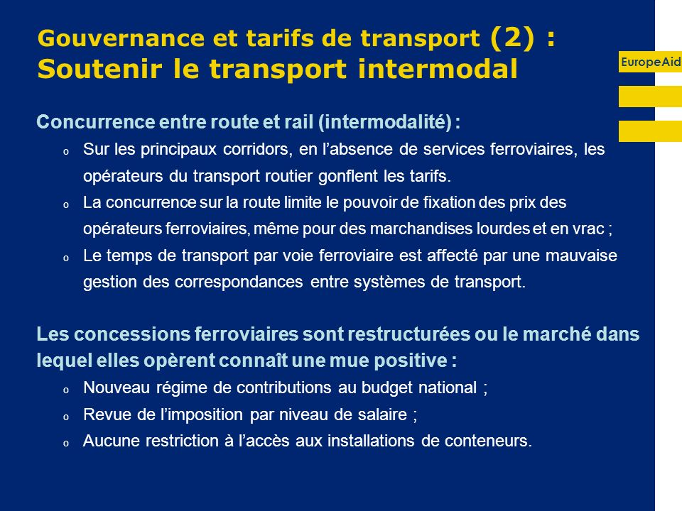 Gouvernance et tarifs de transport (2) : Soutenir le transport intermodal