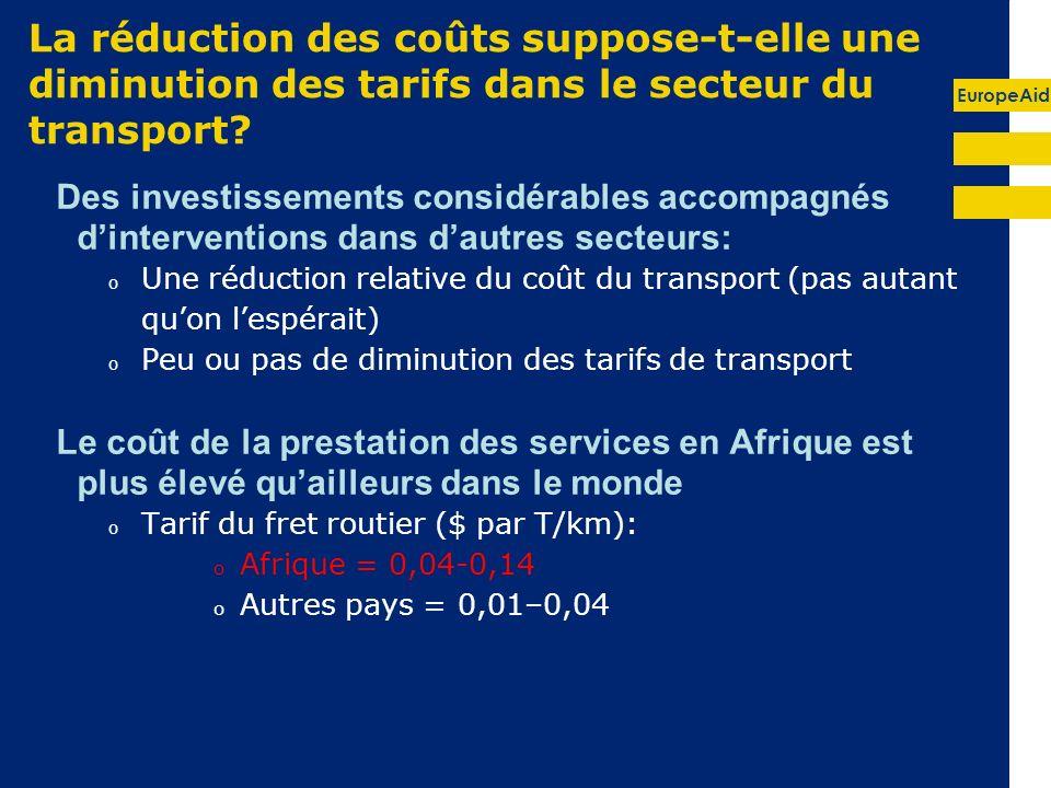 La réduction des coûts suppose-t-elle une diminution des tarifs dans le secteur du transport