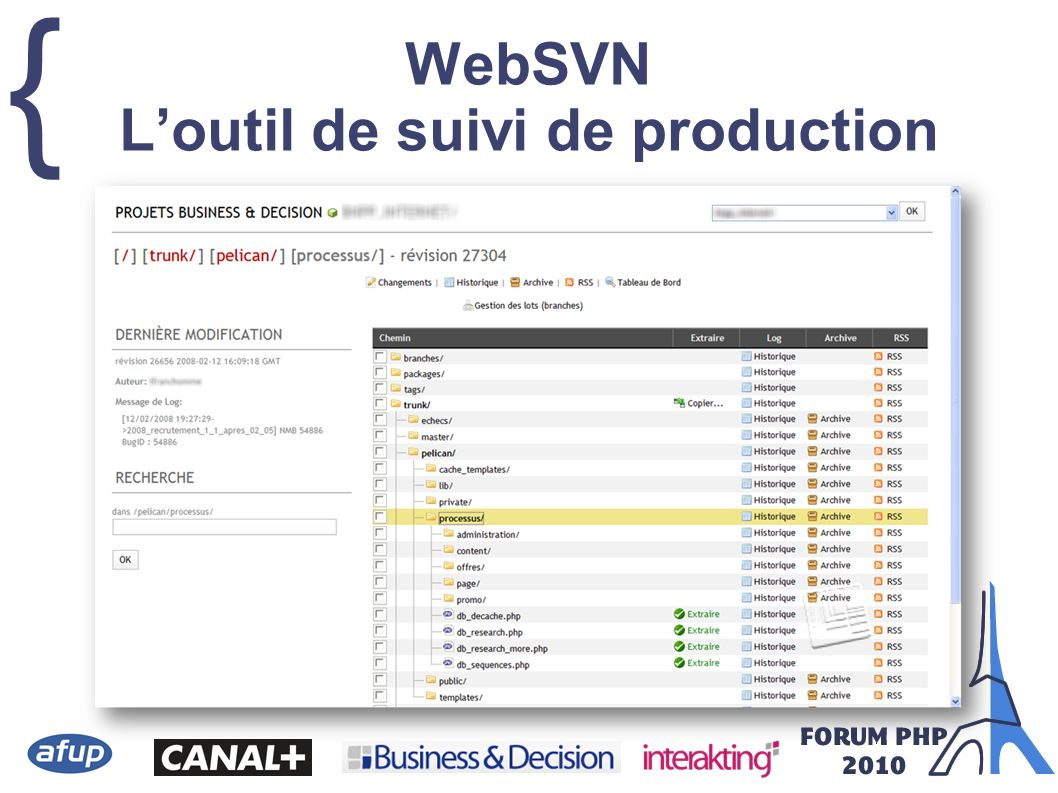 WebSVN L'outil de suivi de production