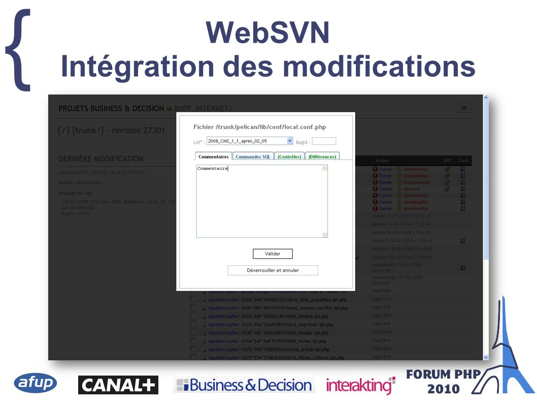 WebSVN Intégration des modifications