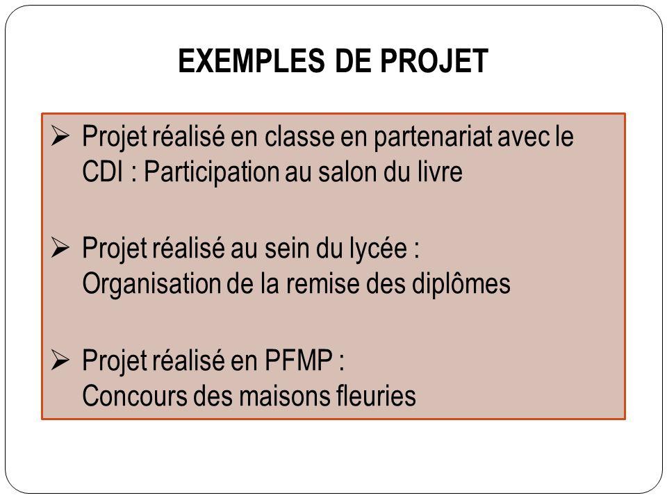EXEMPLES DE PROJET Projet réalisé en classe en partenariat avec le CDI : Participation au salon du livre.