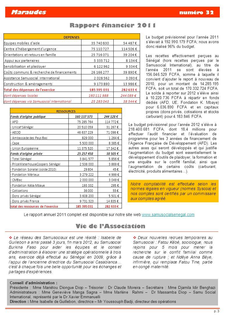 Maraudes numéro 32 Rapport financier 2011 Vie de l'Association