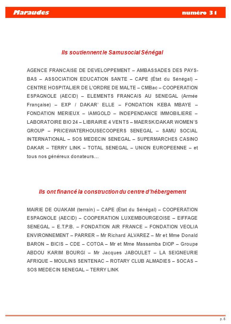 Maraudes numéro 31 Ils soutiennent le Samusocial Sénégal