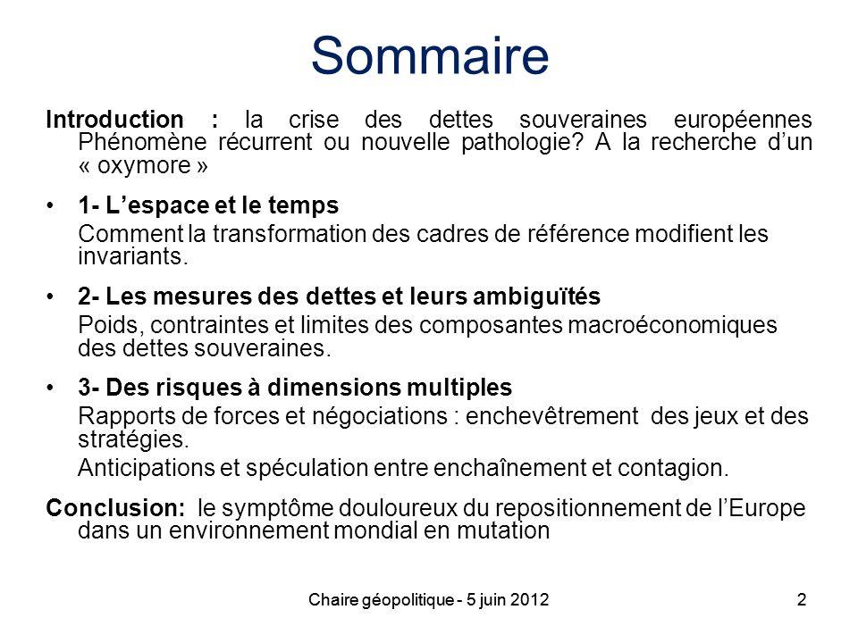 Sommaire Introduction : la crise des dettes souveraines européennes Phénomène récurrent ou nouvelle pathologie A la recherche d'un « oxymore »