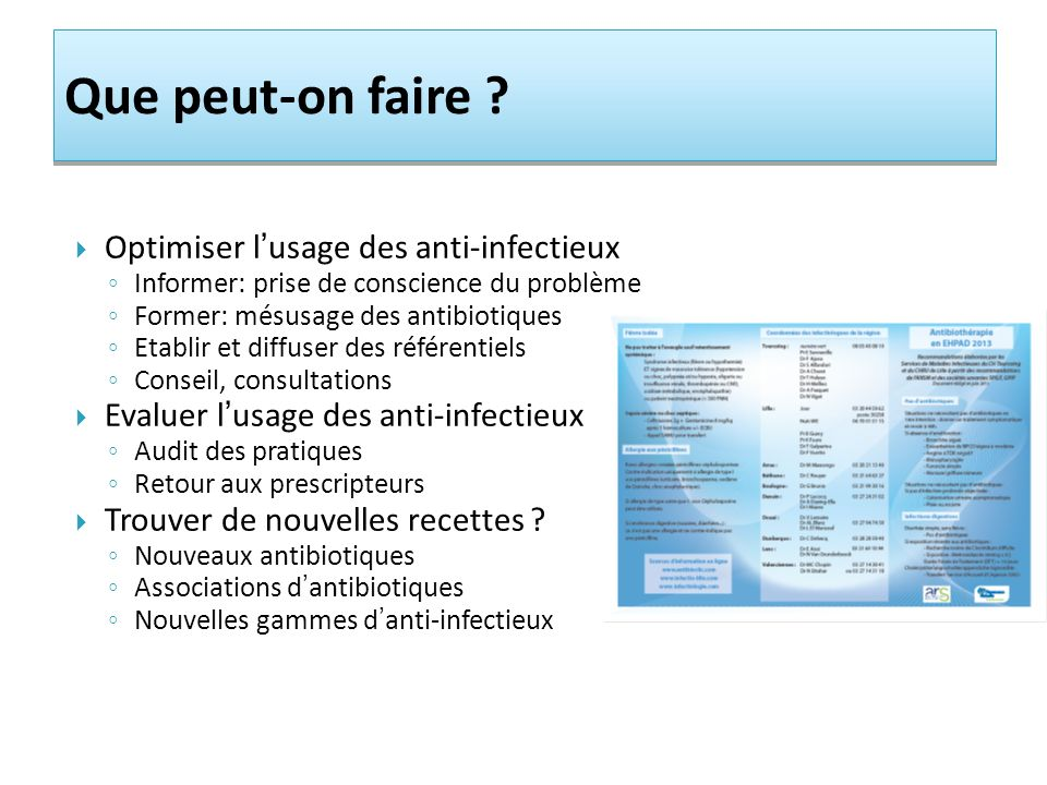 Que peut-on faire Optimiser l'usage des anti-infectieux