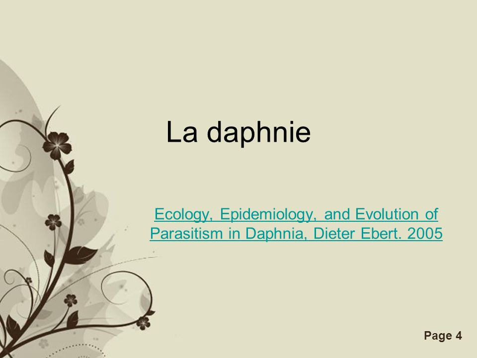 La daphnie Ecology, Epidemiology, and Evolution of Parasitism in Daphnia, Dieter Ebert. 2005.