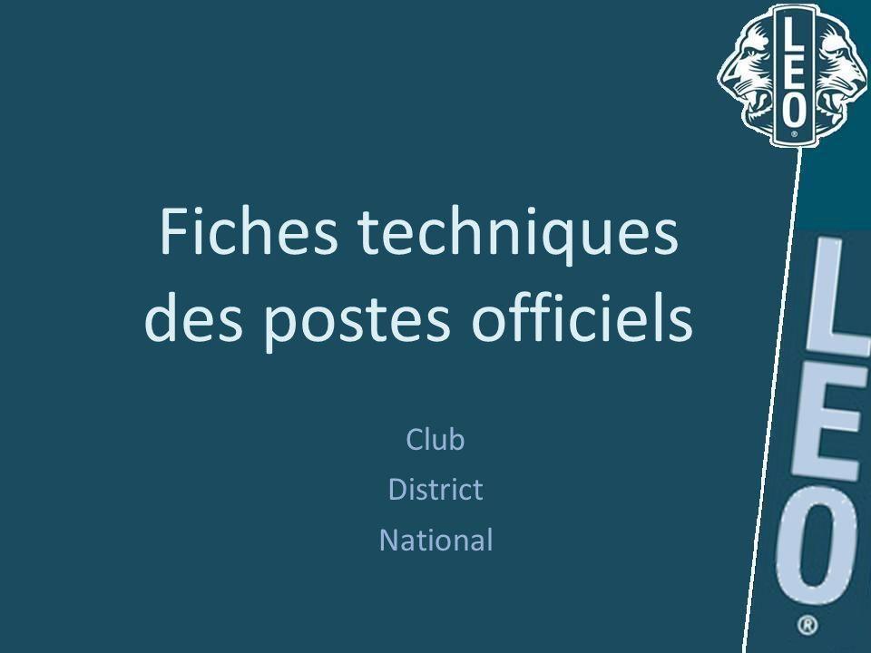 Fiches techniques des postes officiels