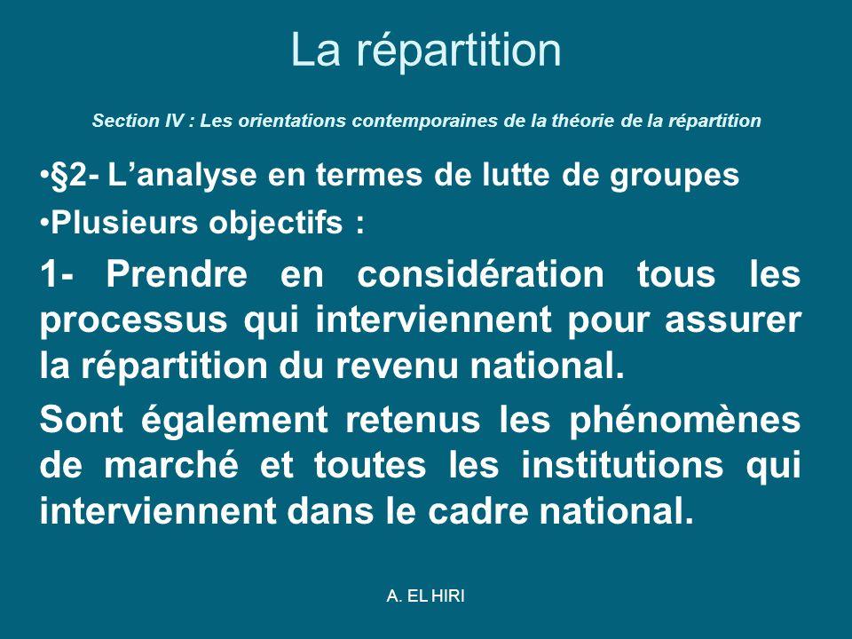 La répartition Section IV : Les orientations contemporaines de la théorie de la répartition