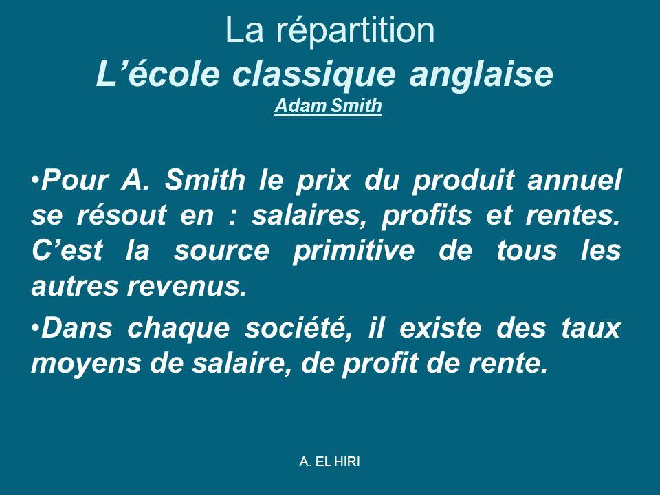 La répartition L'école classique anglaise Adam Smith