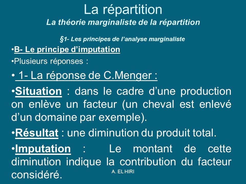 La répartition La théorie marginaliste de la répartition §1- Les principes de l'analyse marginaliste