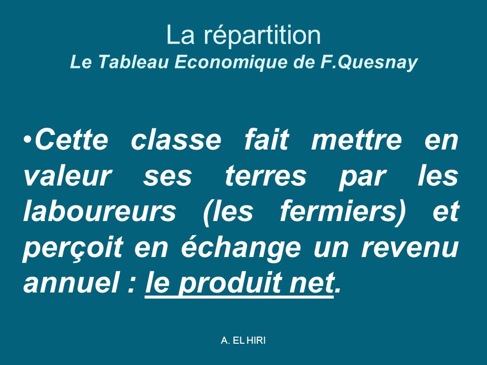 La répartition Le Tableau Economique de F.Quesnay